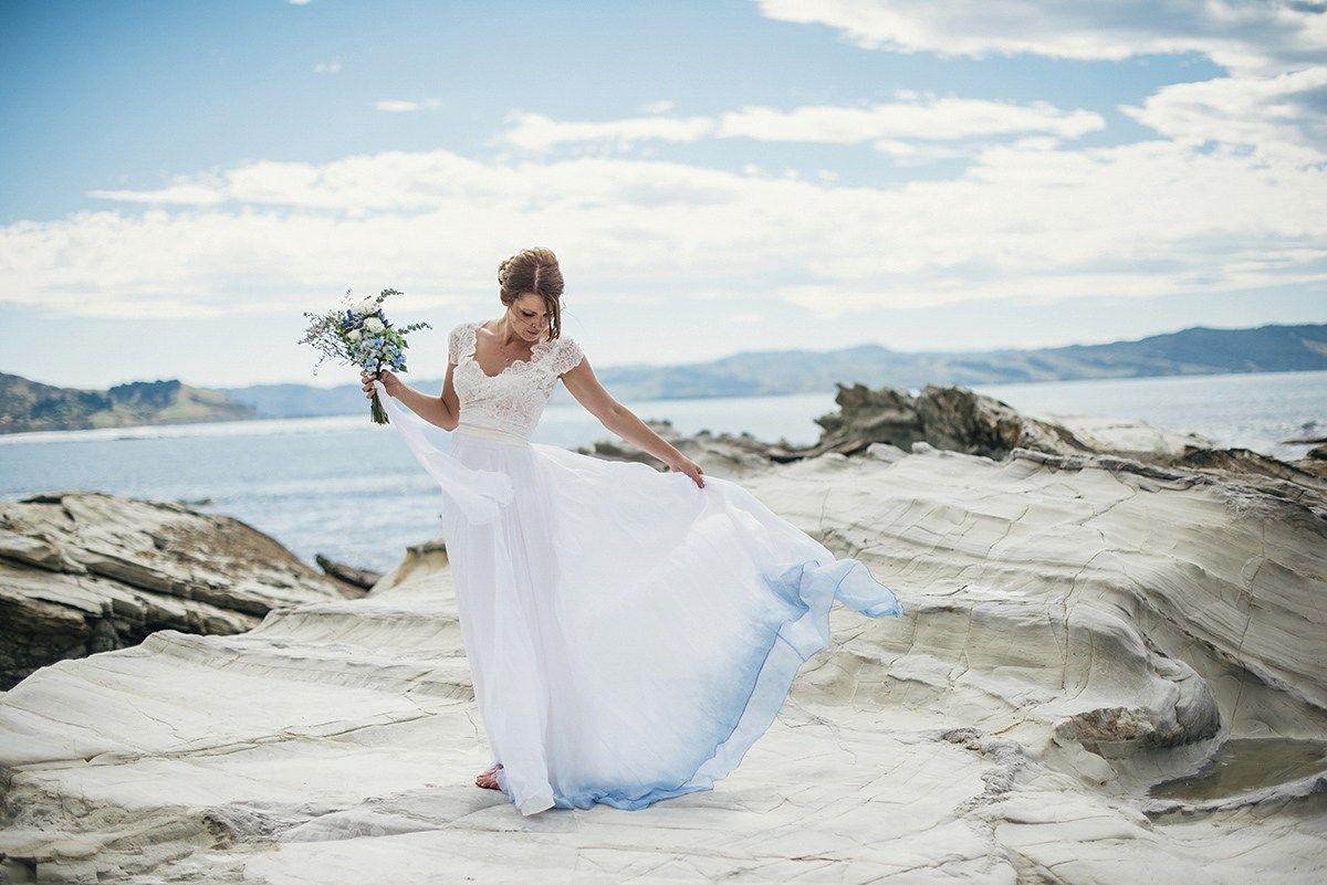 A Beautiful Blue Ombre Wedding Dress for a Barefoot Beach Wedding ...