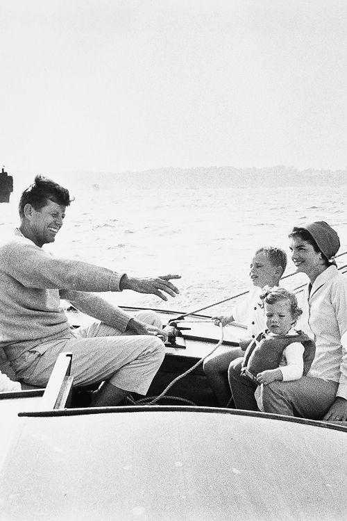 John F. Kennedy, Jacqueline Kennedy, Caroline Kennedy at Cape Cod, 1958.