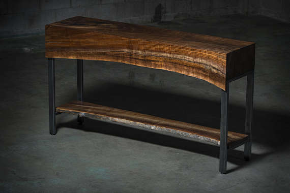 Walnut Waterfall Console Table With Live Edge Live Edge Shelves Live Edge Console Table Furniture