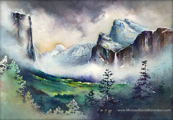 """""""Yosemite Valley"""" Watercolor Painting by Michael David Sorensen. Available on Etsy."""