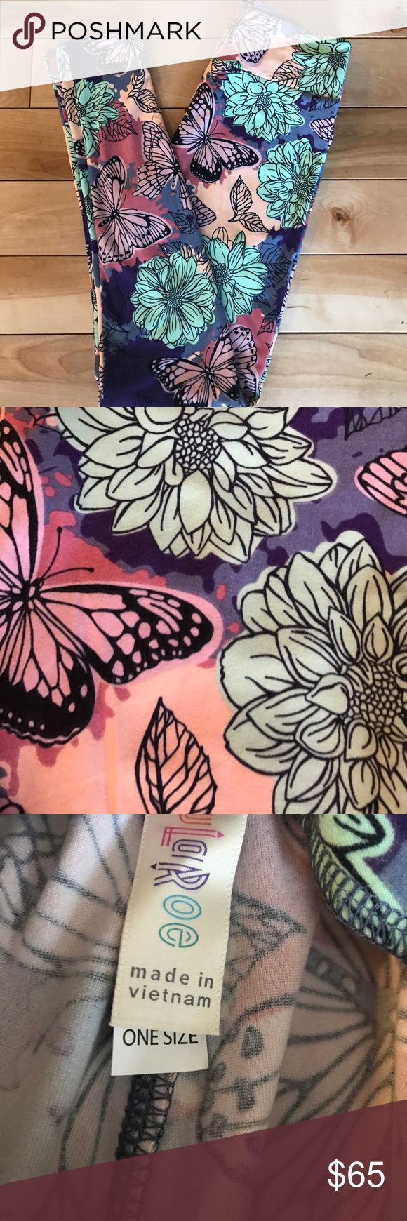 2afc97ebcd94d7 Beautiful spring print with dahlias and butterflies. Bundle for additional  discounts or make me an offer. LuLaRoe Pants Leggings