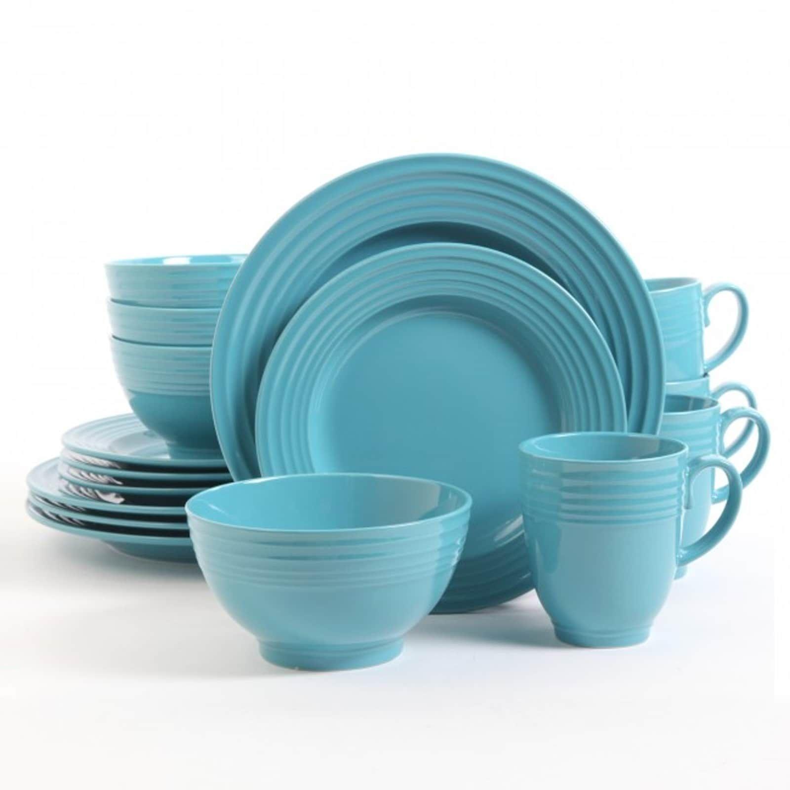 Gibson Stanza 16-Piece Stoneware Dinnerware Set Turquoise Blue  sc 1 st  Pinterest & Gibson Stanza 16-Piece Stoneware Dinnerware Set Turquoise Blue ...