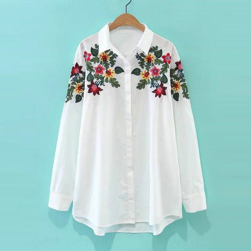 6cdc77e66 Tangada Korean Style Fashion Floral White Blouses Shirts Embroidery Clothes  For Women Camisas E Blusas Casual Brand Tops MM19
