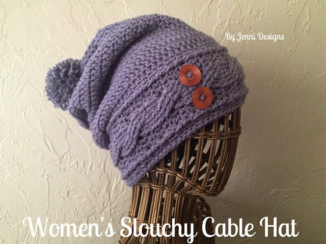 By Jenni Designs Free Crochet Pattern Womens Slouchy Cable Hat