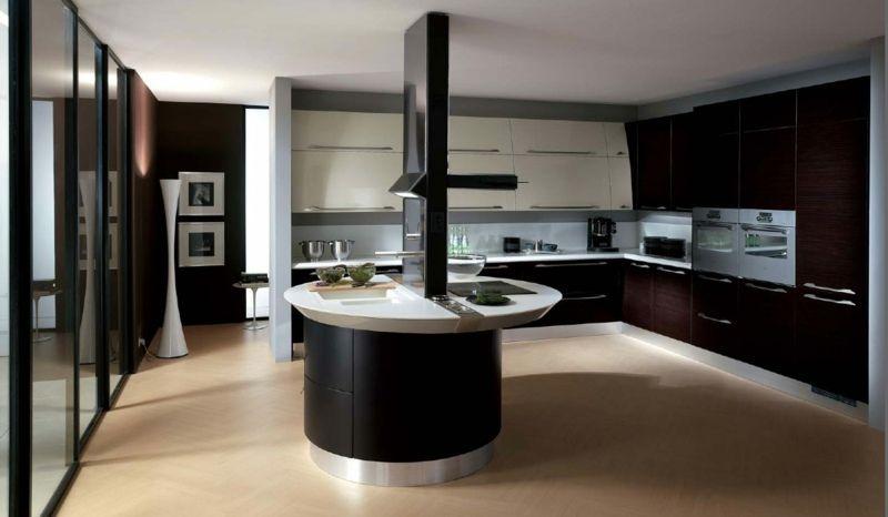 Runde Kochinsel mit eingebauter Abzugshaube Küche Pinterest - weiss kche mit kochinsel