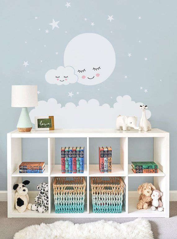 Photo of Moon, Clouds and Stars Wall Stickers – Vinyl Wall Stickers, Nursery Decor, Kids Stickers