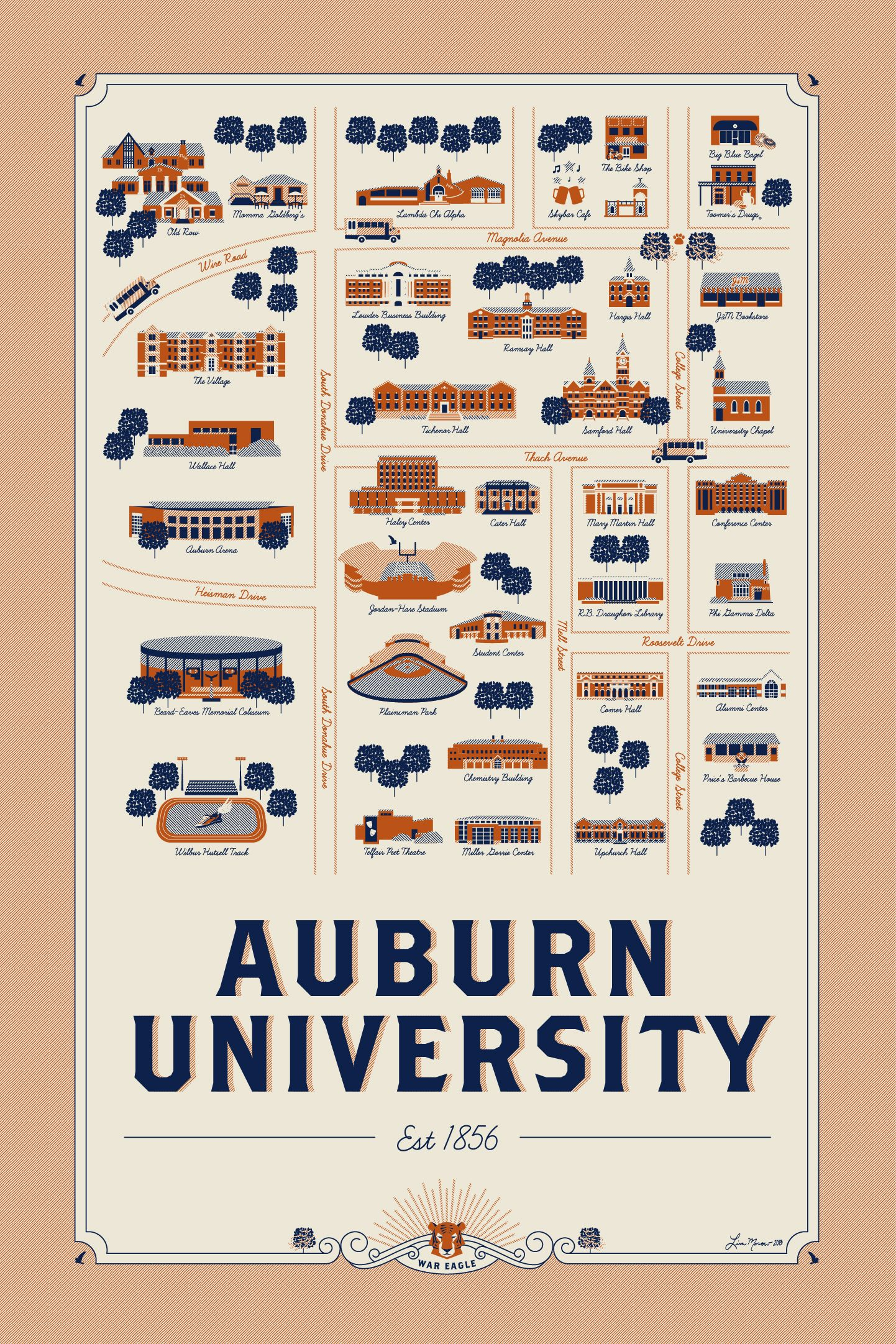 Auburn University Map Illustration Get Yours Here Map Design