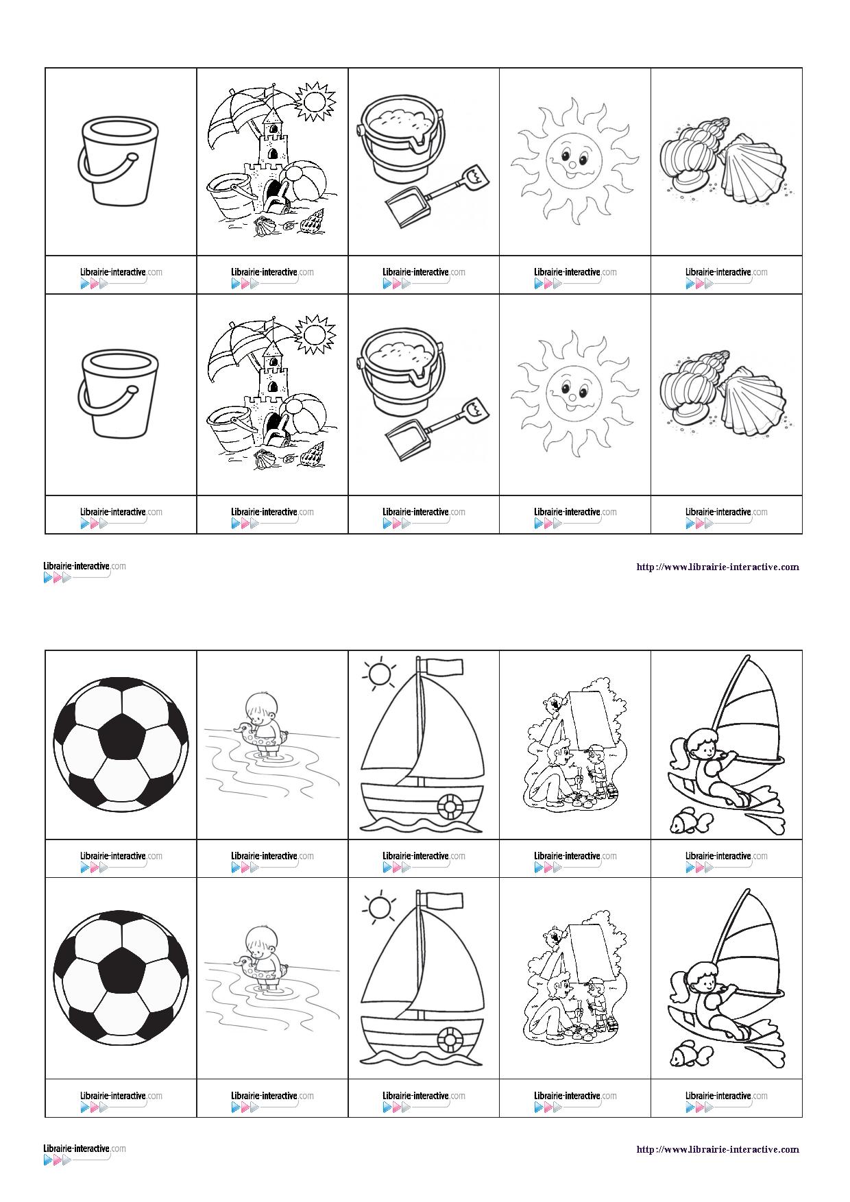 Un petit jeu de memory sur le thème des vacances   Jeux de mémoire, Petit jeux, Jeu de memory