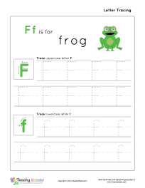 Preschool worksheet for tracing letter F f is for frog. Tracing ...
