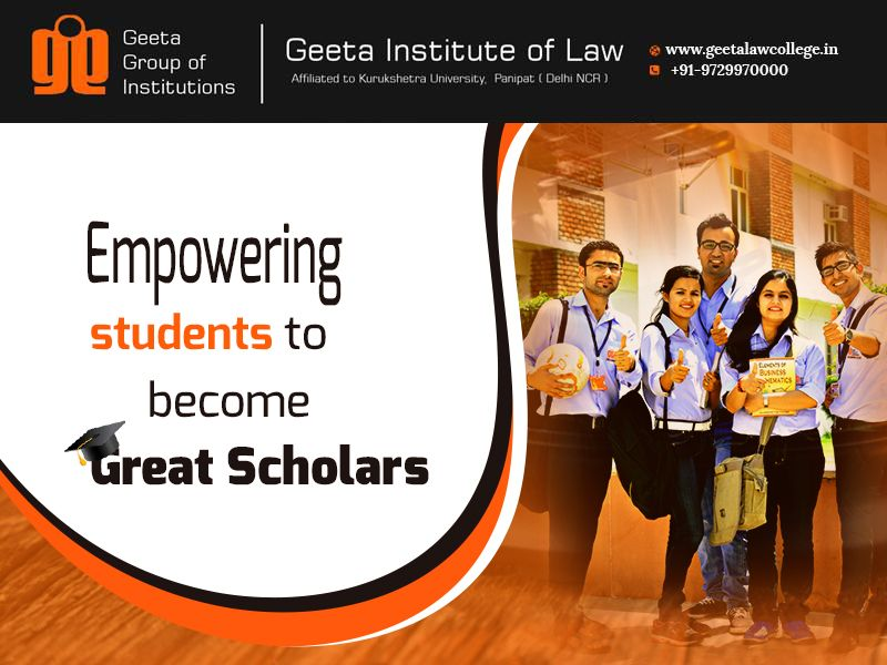 "Join #GeetaInstituteofLaw to become not just a scholar but a ""Great Scholar""! Admissions open for courses BBA LLB, BA LLB, LLB and LLM! Visit: www.geetalawcollege.in or call-+91-9729970000 for details."