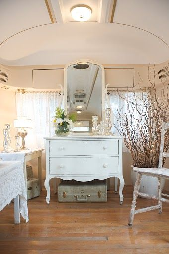 beautiful traditional furniture inside an Airstream trailer at Three Points  Ranch, Texas