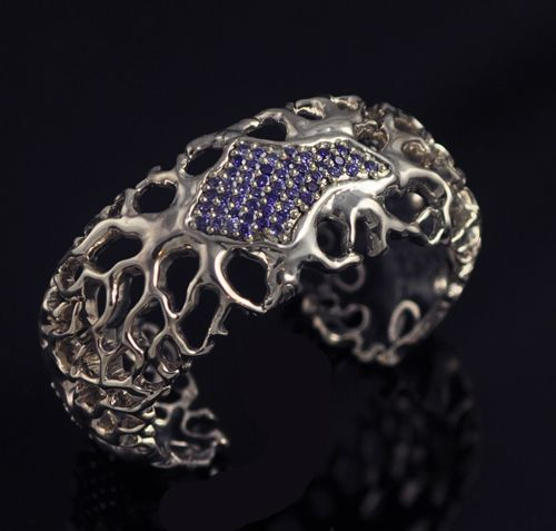 Lydia Lerner Designs  76 grams sterling silver with gemstones  Akar cuff bracelet   sterling silver 925  3 station pave gemstone pattern _ front is shown  root pattern  1-3/4 inches wide