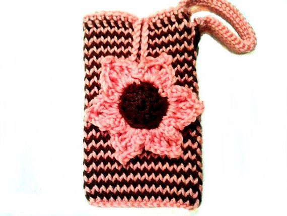 Peach & Brown Striped iPhone Pouch with Strap and by KnitBlossom, $12.00