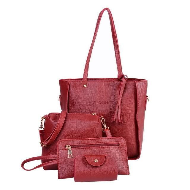 bf4a071c0eb1e MoneRffi 4pcs/set Fashion PU Leather Women Bag Large Solid Tote Bags  Composite Casual Tassel