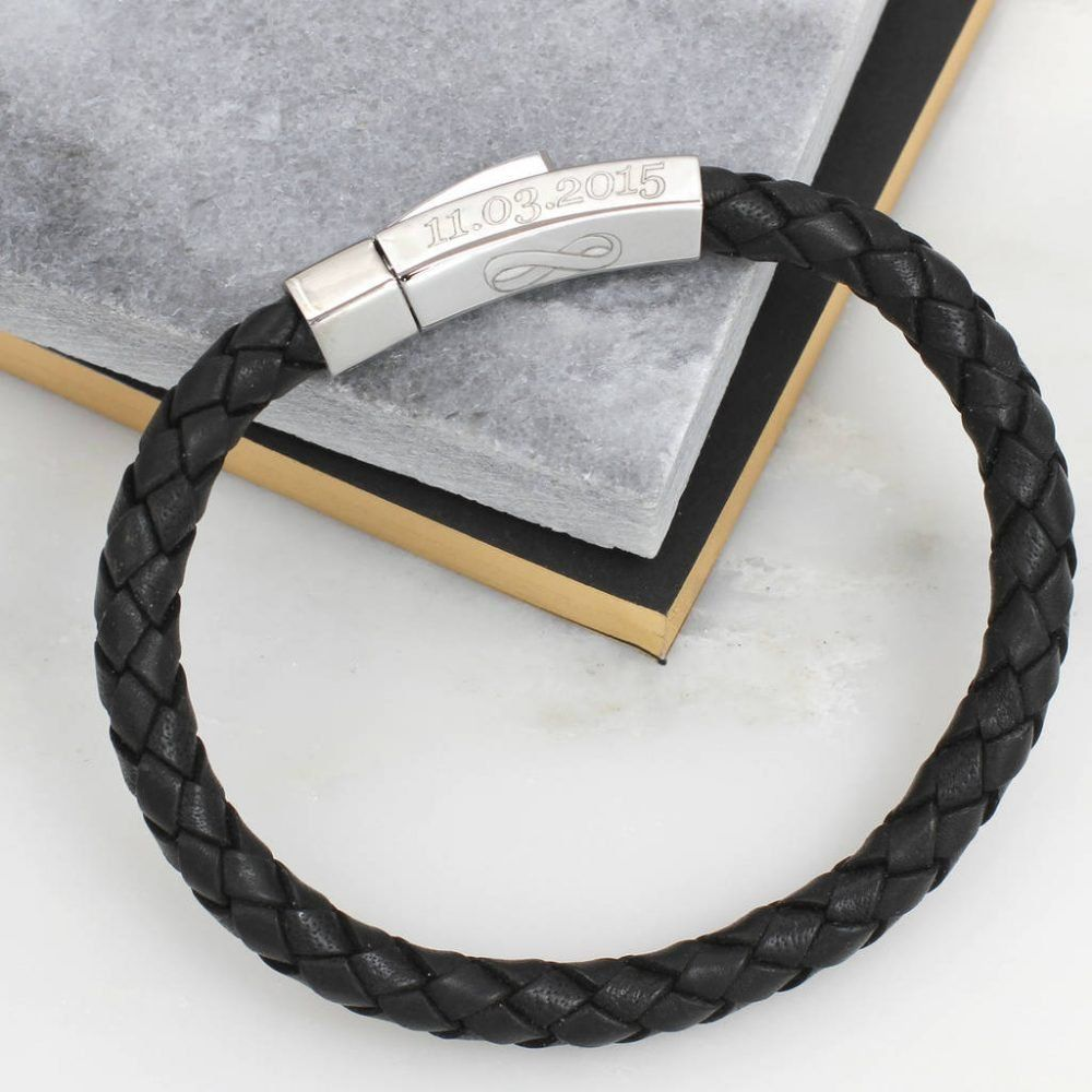 64a8ed8f4d8a Mens Personalised Leather Infinity Message Bracelet