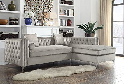 91a1790b7b0b Iconic Home Chic Home Da Vinci Velvet Modern Contemporary Button Tufted  with Silver Nailhead Trim Silvertone