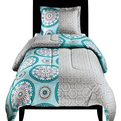 twin xl bed reversible comforter u0026 sham set blue and beige medallion