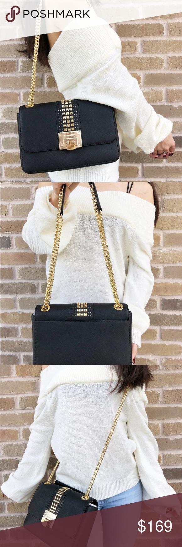 7ee1771dca5577 Michael Kors Tina Stud Medium Black Chain Tote Michael Kors Tina Stud Medium  Should Flap Bag Crossody Black Chain Tote Dual chain/leather handles Studded  ...
