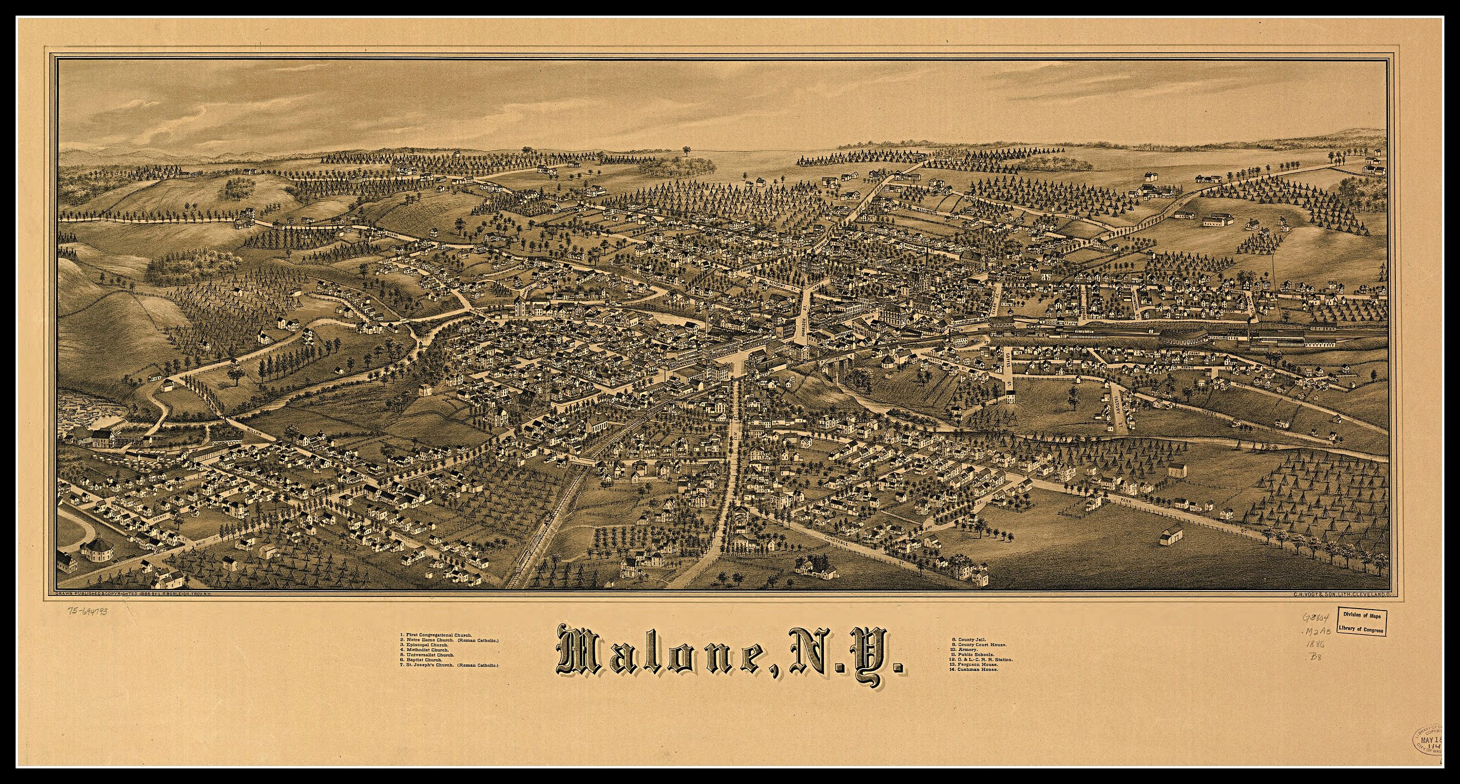 Malone NY, Panoramic map, vintage map, vintage map art ...