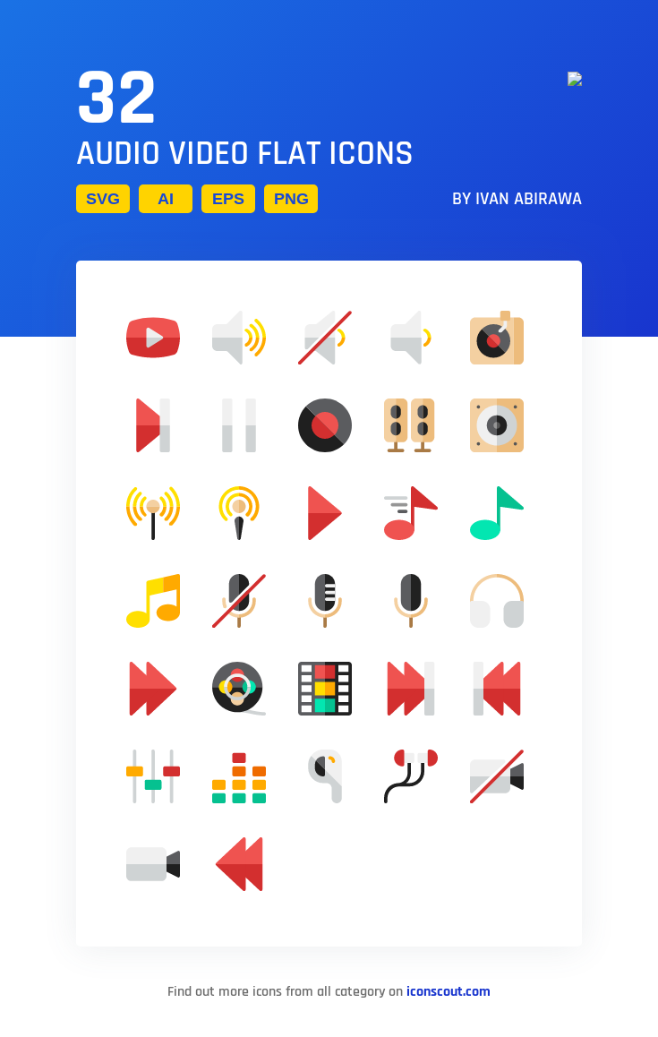 Download Audio Video Flat Icon Pack Available In Svg Png Eps Ai Icon Fonts Flat Icons Set Flat Icon Icon