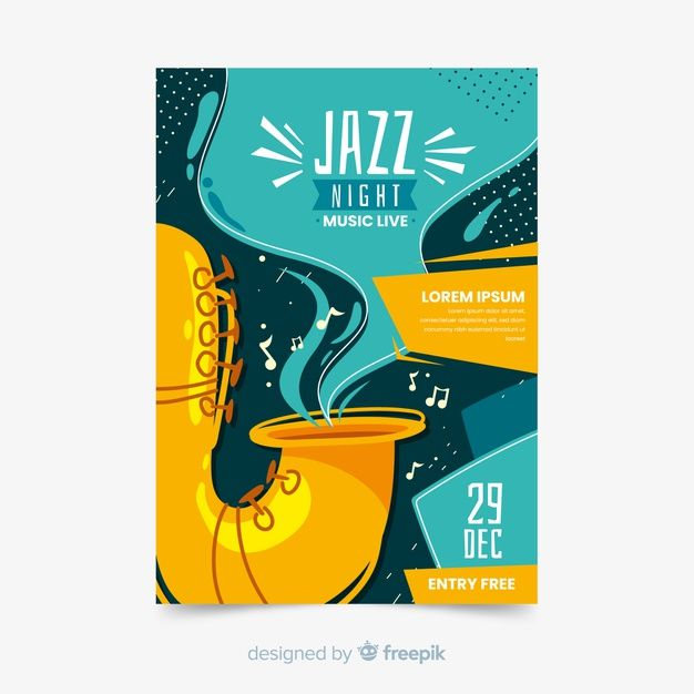 Photo of Download Template Abstract Hand Drawn Jazz Poster for free