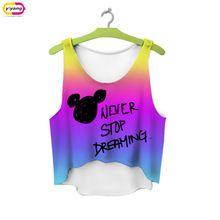 Multicolor camisetas 3D imprimir mujeres tank tops y camis sin mangas impreso niñas chaleco de verano crop short tops irregular(China (Mainland))