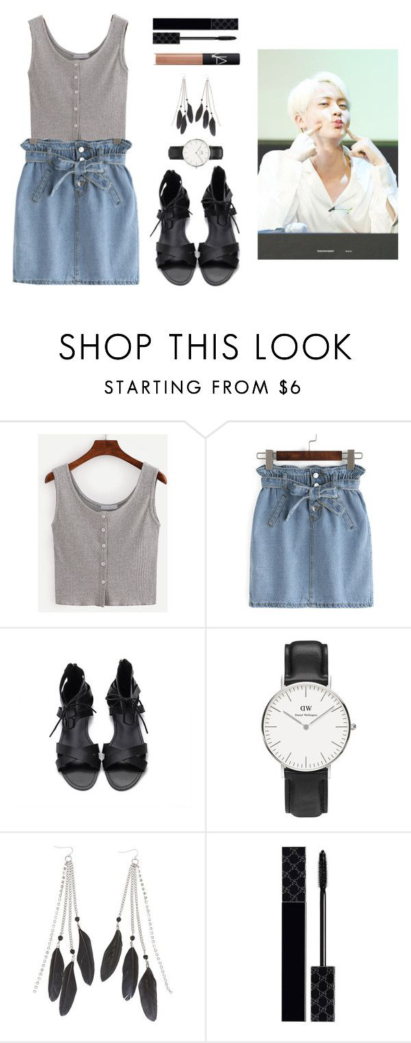 """Spending the day doing little things together with Jin"" by got7outfits ❤ liked on Polyvore featuring Daniel Wellington, Charlotte Russe, Gucci and NARS Cosmetics"