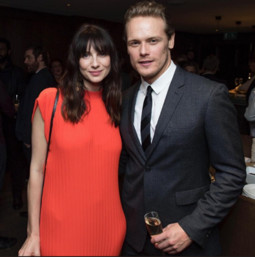 Caitriona Balfe and Sam Heughan at the HFPA Party, Globes 75, London