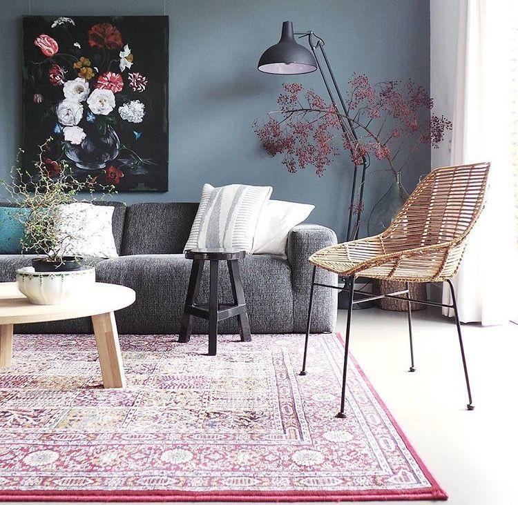 Farbpalette Wandfarbe Caparol Dekoration Home Staging: Woonkamer Vintage, Grijze Bank En