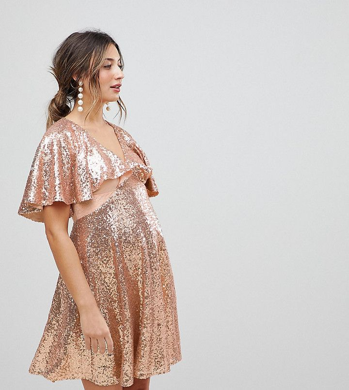 ASOS Maternity Sequin Fluted Sleeve Lace Mini Dress #ad #maternity #maternitystyle #maternitydress #maternityclothes #asos #maternityfashion #fashion