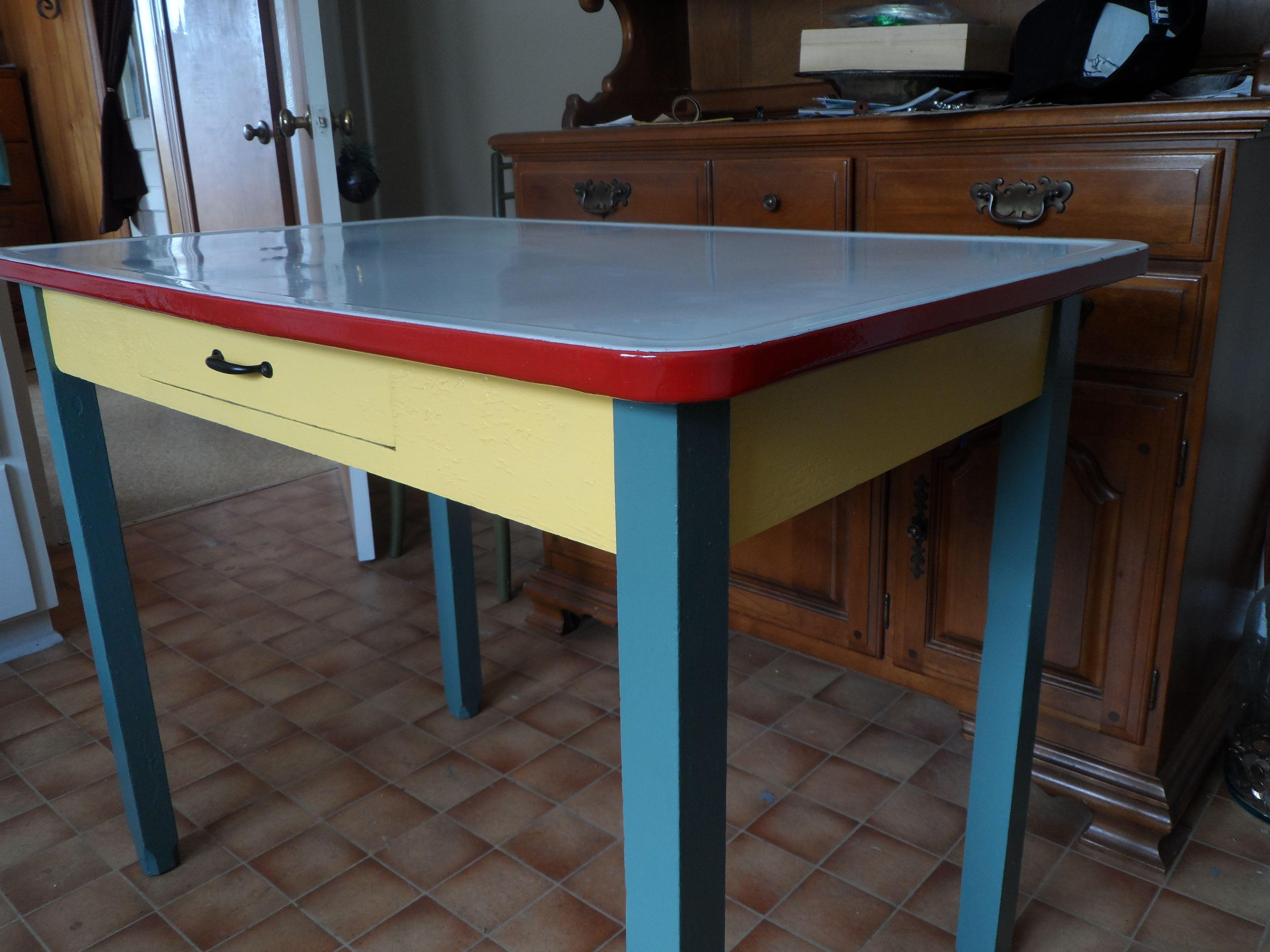 Vintage Enamel Table 150 00 My Projects Vintage