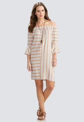 Cato Fashions Striped Off the Shoulder Asymmetrical Dress #CatoFashions