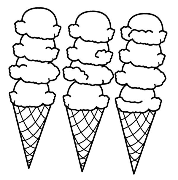 Big Ice Cream Cones Coloring Page Ice Cream Coloring Pages Coloring Pages Bee Coloring Pages