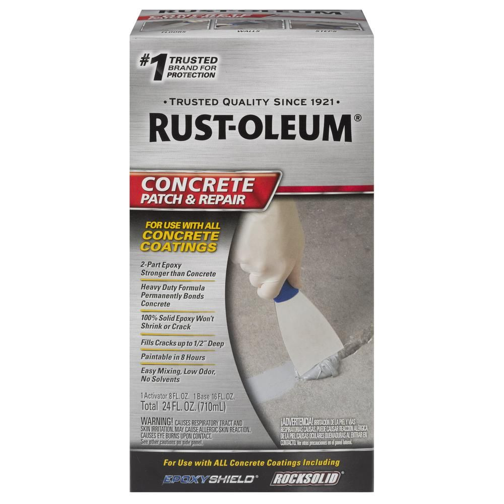Patching Cement Garage Floor: Rust-Oleum 24 Oz. Concrete Patch And Repair Kit-301012 In