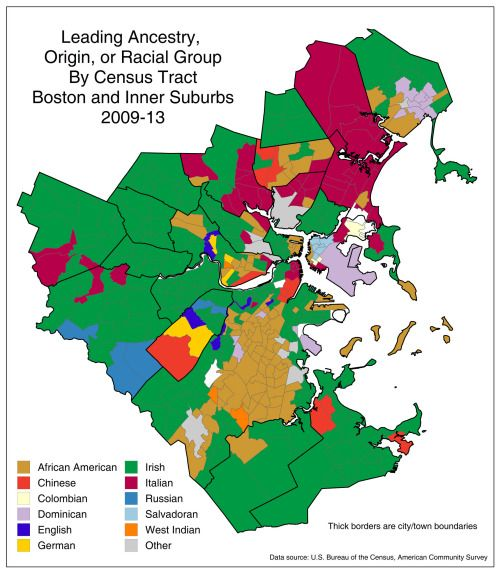 Leading ancestry-origin-racial group Boston and Inner Suburbs ...