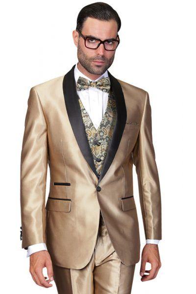 Champagne Sharkskin Shawl Lapel Tuxedo Suit | Warehouse Suit Sale ...
