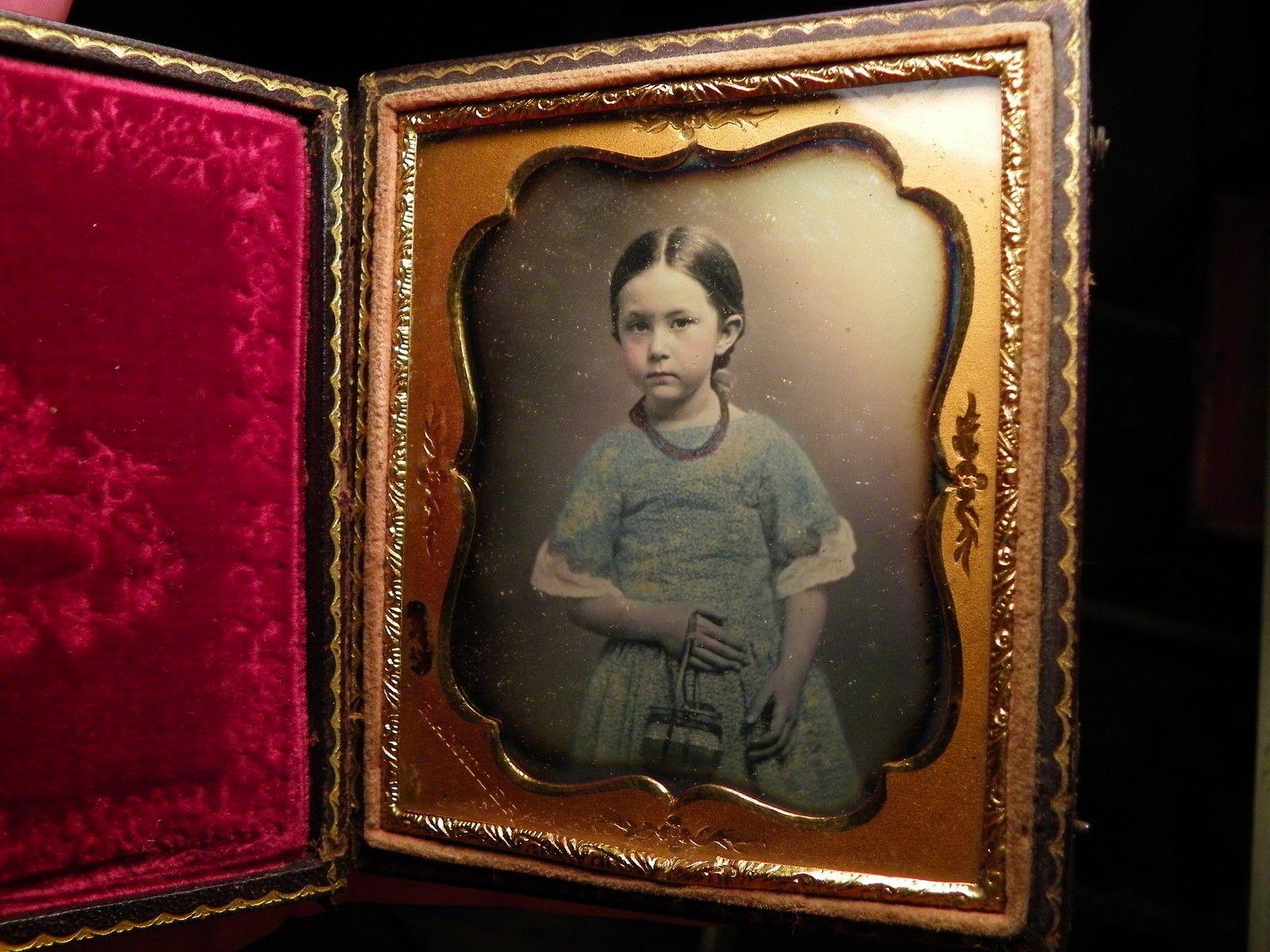 Signed SEALED Beautiful Little Girl w Purse and Blue Dress Killer Image | eBay