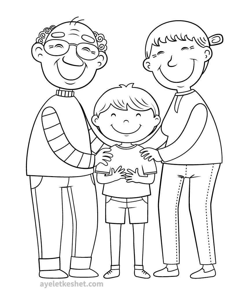 My Family Coloring Pages For Preschoolers | 1044x850