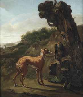 Abraham Jansz. Begeyn (Leiden 1637-1697 Berlin) A greyhound by a willow in a landscape