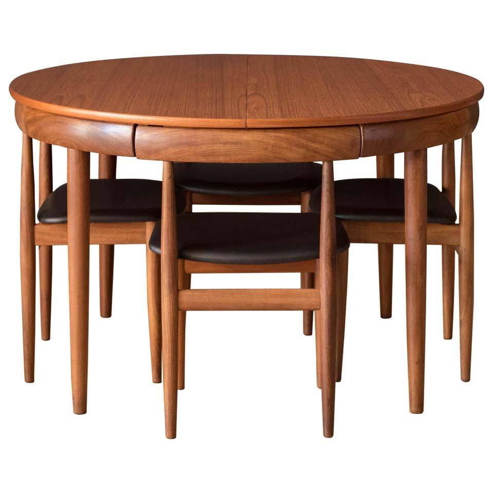 Vintage Danish Hans Olsen Teak Round Dining Table And Chair Set In 2020 Round Dining Table Sets Compact Dining Table Dining Table