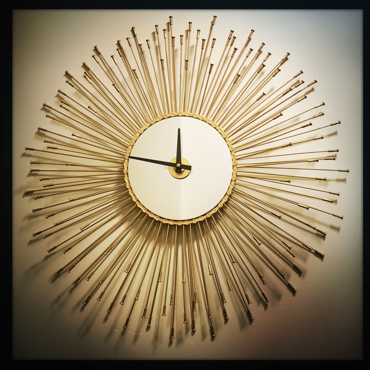 Sunburst Bike Clock Mid Century Wall Clock Boho Gift For Her Unique Wedding Gift Idea Oversized Wall Clock Industrial H Upcycling Einrichtung Just For You