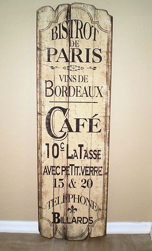 Details About Cafe De Paris French Chic Country Sign Shabby Wall Art Wood Plaque Ooak Hp Wooden Wall Plaques Wooden Walls Wall Plaques