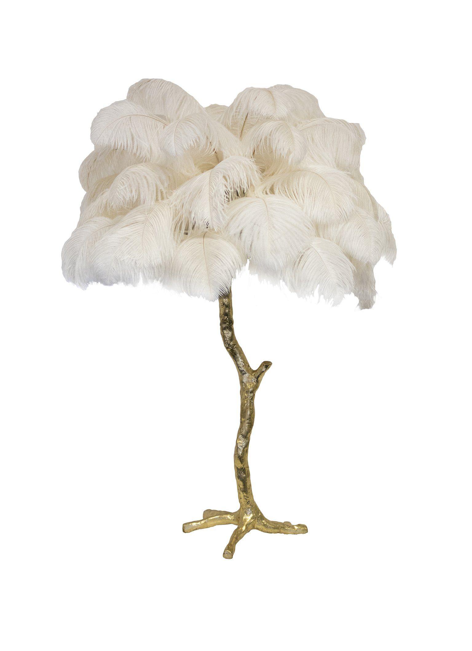 Mini Ostrich Feather Lamp Brass Base