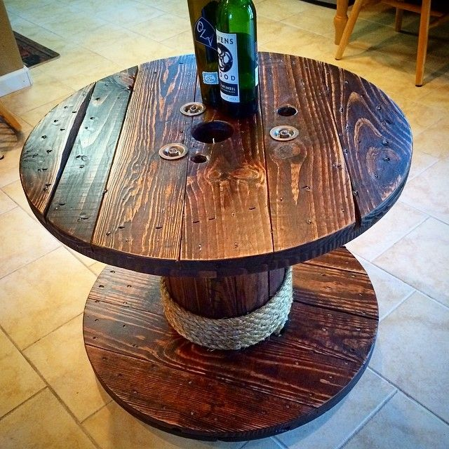 Just finished up this wire spool coffee table Turned out pretty