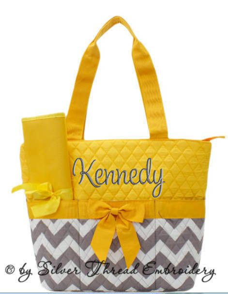 personalized diaper bag chevron gray yellow quilted monogrammed