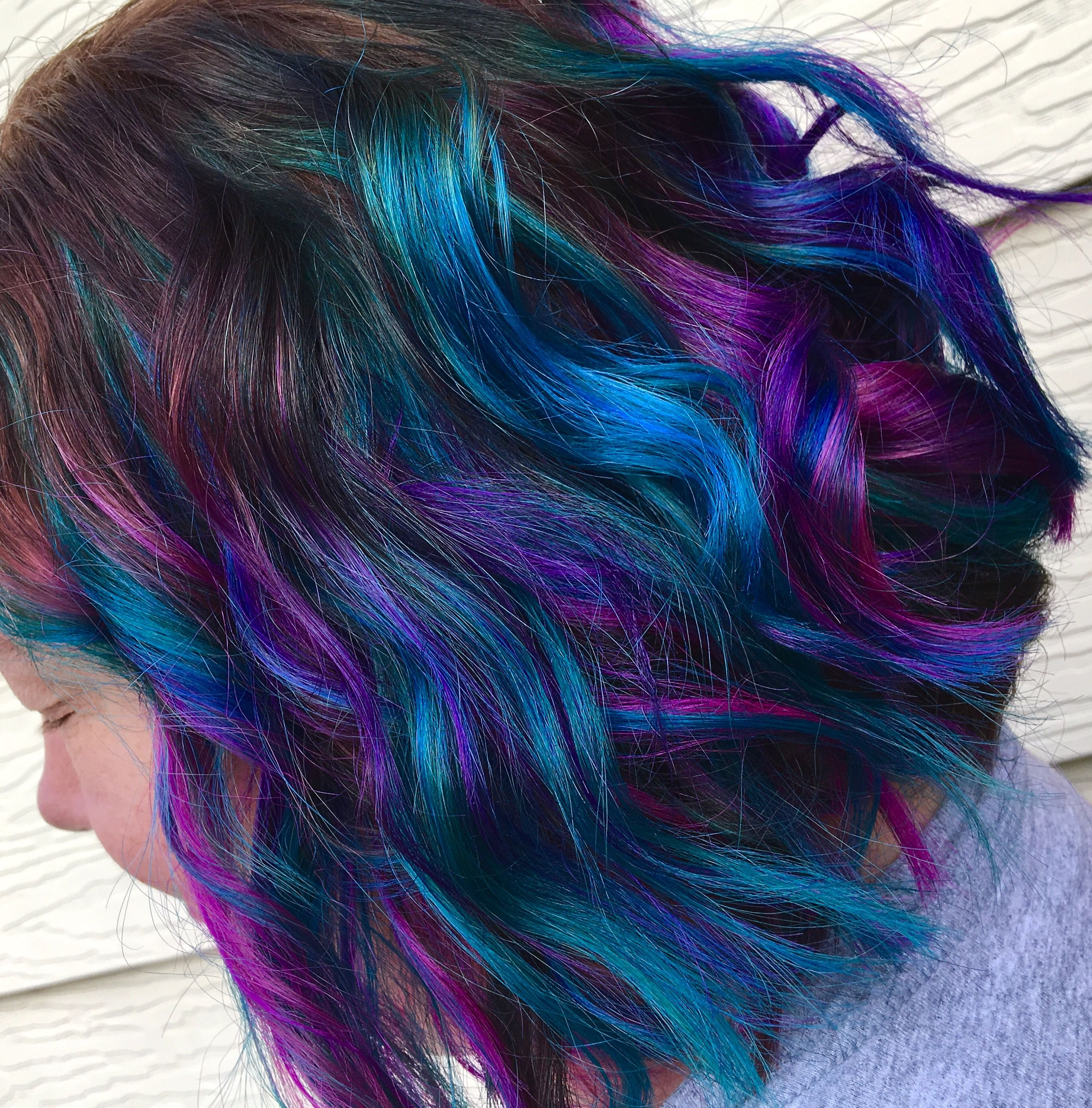 Pink Purple And Teal Balayage Highlights Hair And Makeup By Jaidyn Perkins Joico Intensity Hair Color Colored Hair Tips Teal Hair Vivid Hair Color