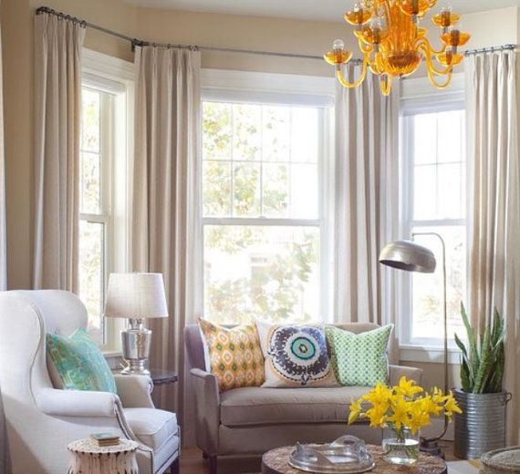 Awesome Curtain Ideas For Bay Window Living Room Eclectic: Pair, Pleated Linen Curtains, Drapery Panels, Two Fold