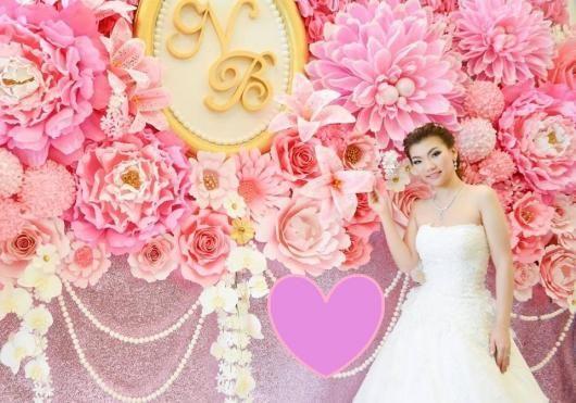 cd164d5b71 Decoração com papel crepom painel de flores rosa