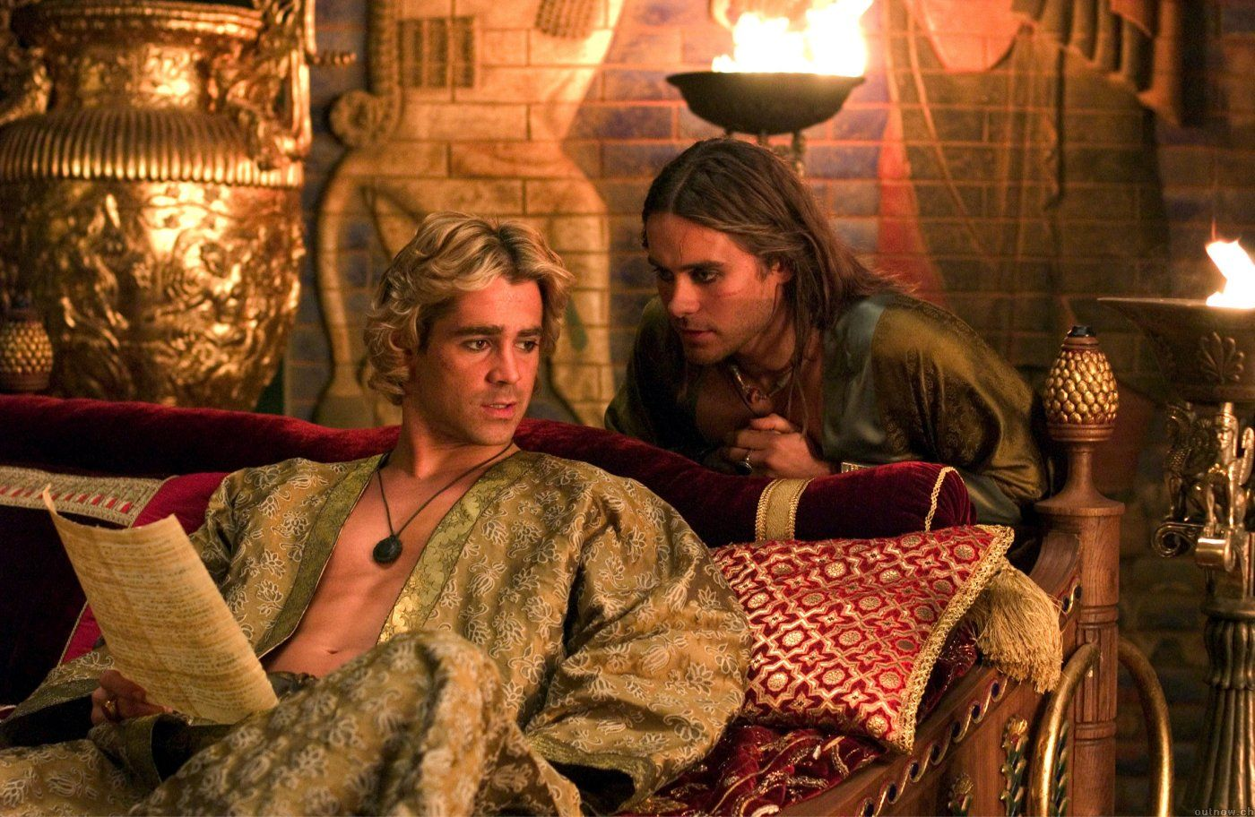 Colin Farrell (Alexander the Great) and Jared Leto ...