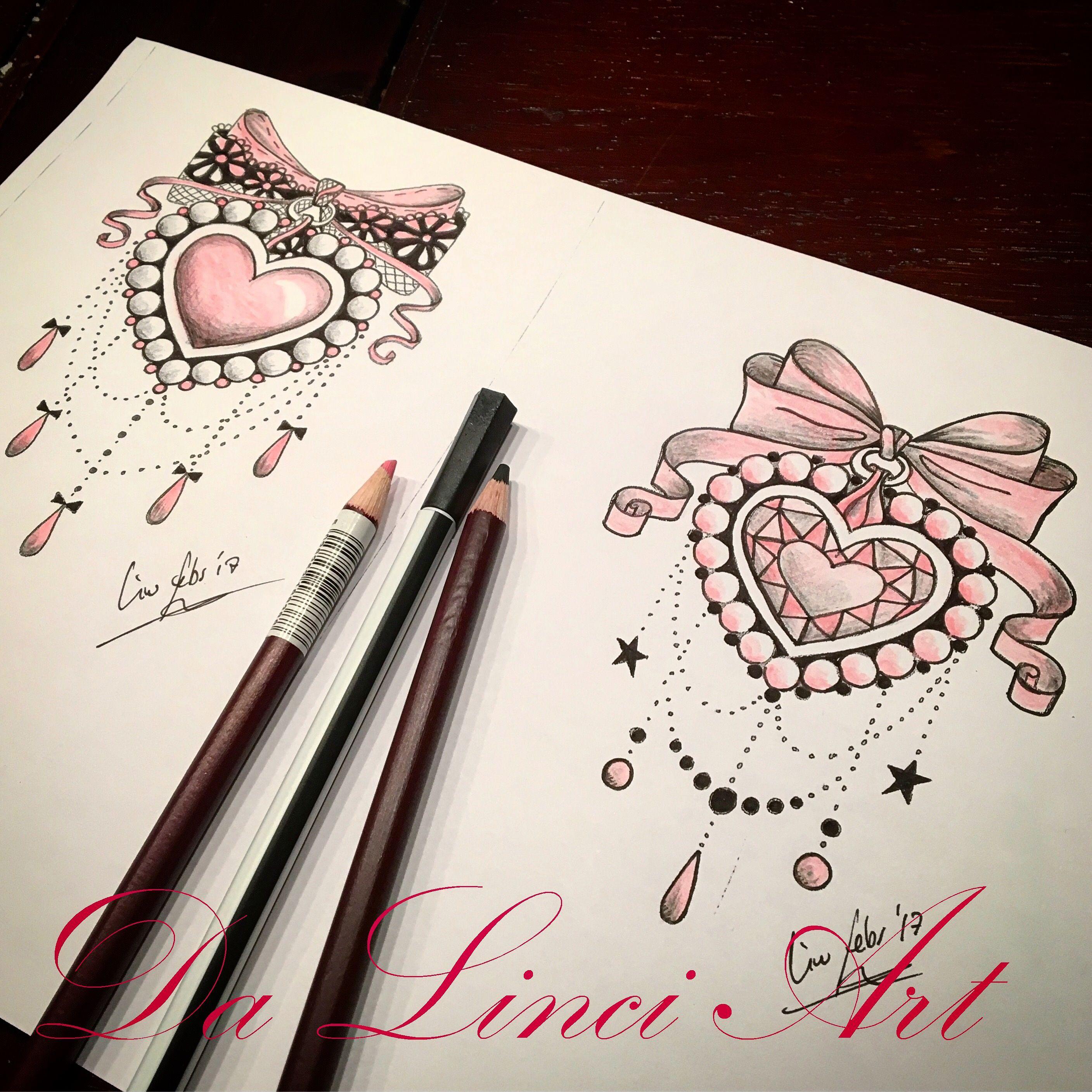 Diamond Heart Bow Tattoo Designs Girly Tattoos Jewerly Tattoo